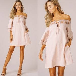 HAILEY Off Shoulder Dress   - BLUSH